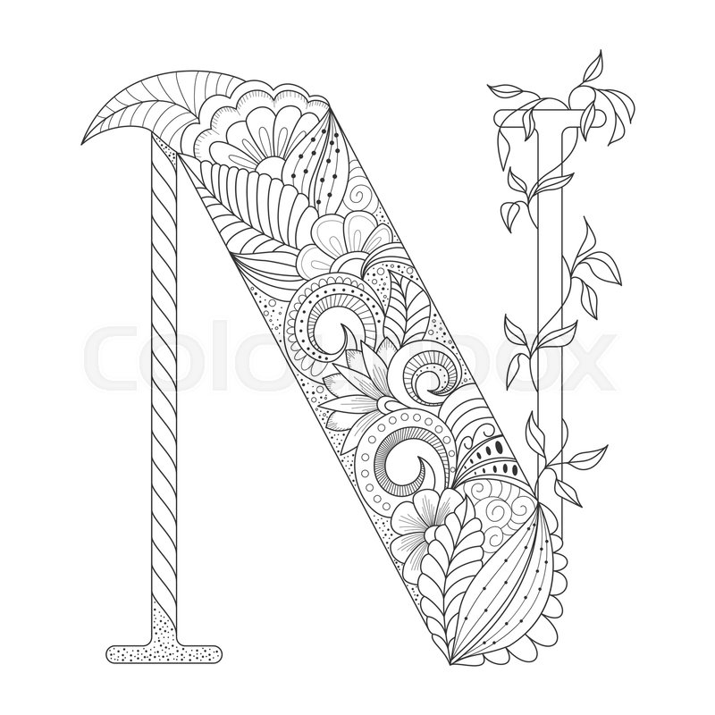 letter n coloring pages for adults free art print of floral n floral initial capital letter coloring pages for n adults letter