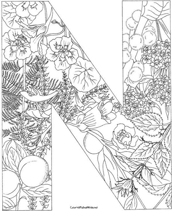 letter n coloring pages for adults free to download floral alphabet letter n coloring pages n coloring pages adults letter for