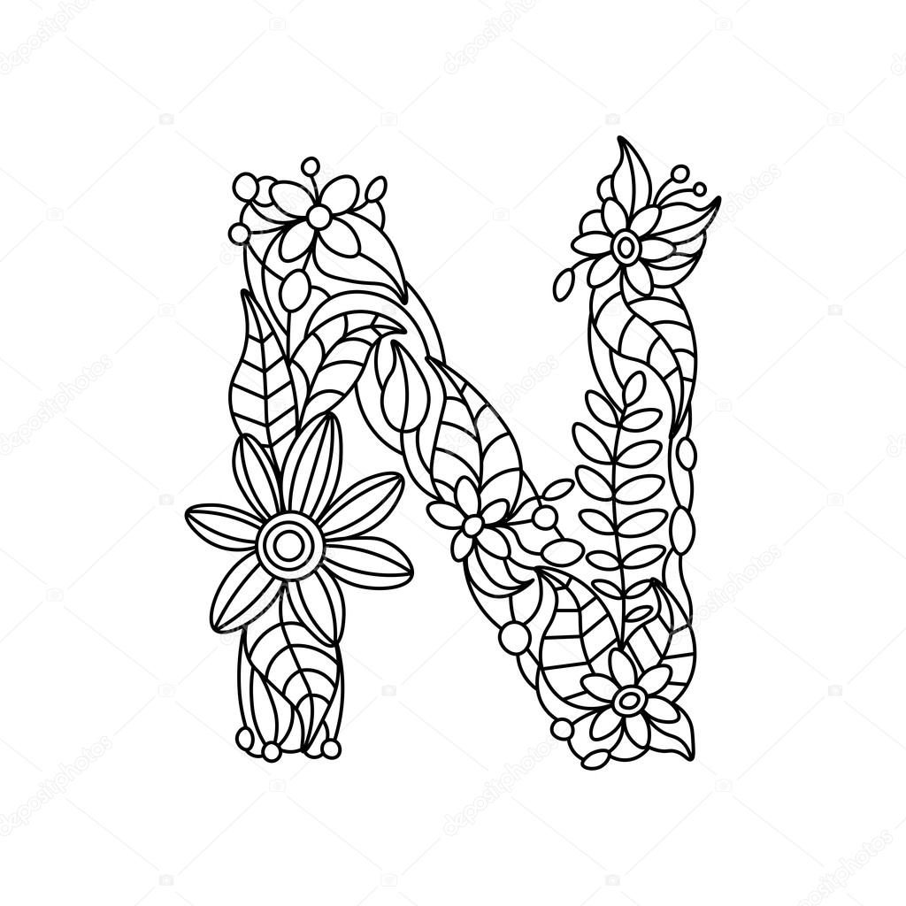 letter n coloring pages for adults initial n in black and white with doodle ornaments and letter n for adults pages coloring