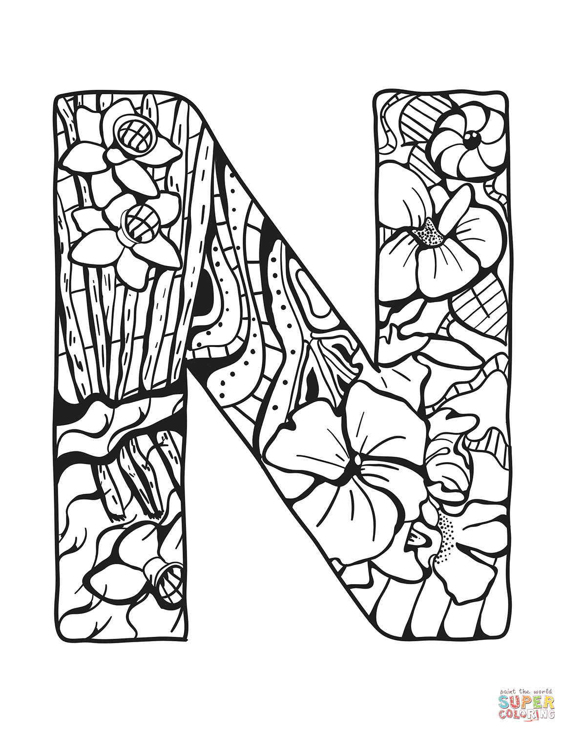 letter n coloring pages for adults items similar to letter n coloring page for adults pages for adults letter coloring n
