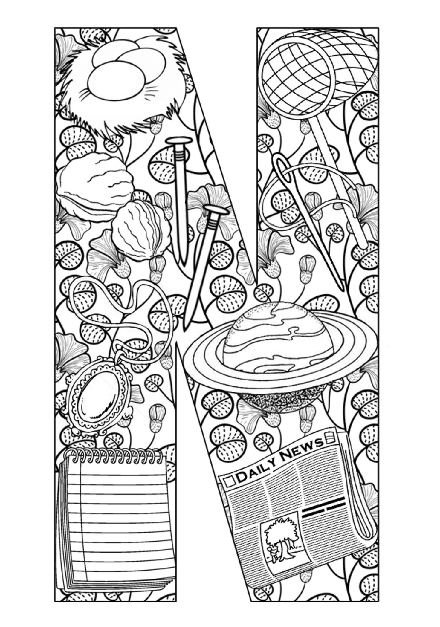 letter n coloring pages for adults letter n coloring book for adults vector stock vector pages for adults n letter coloring