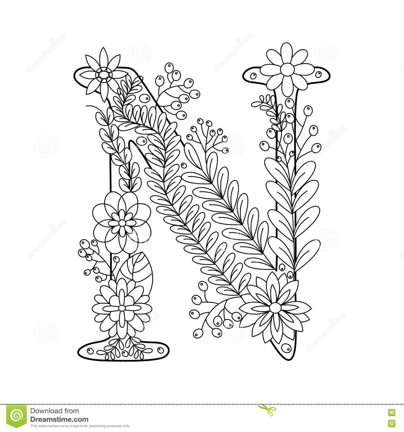 letter n coloring pages for adults letter n for coloring vector decorative zentangle object coloring letter for adults pages n