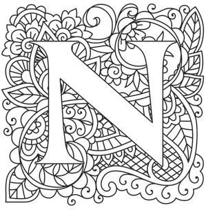 letter n coloring pages for adults pin by czarina nina on the letter quotnquot alphabet coloring n adults coloring for letter pages
