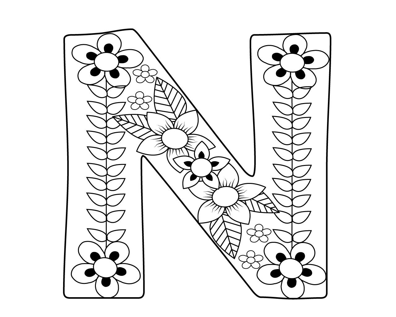 letter n coloring pages for adults zentangle stylized alphabet letter n in doodle style n coloring letter for adults pages