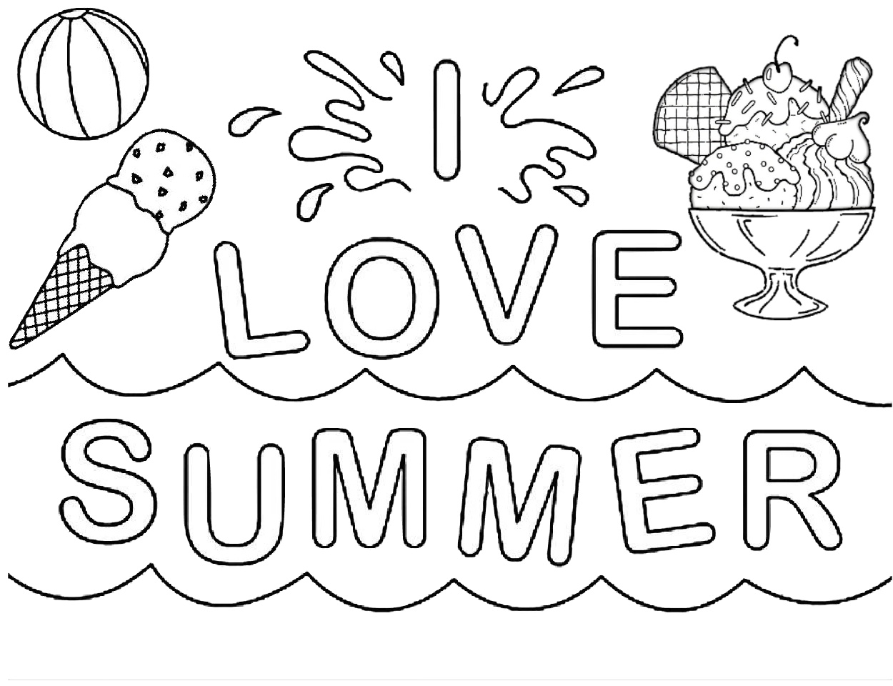 love pictures to color i love summer easy coloring pages for kids print color craft color love pictures to