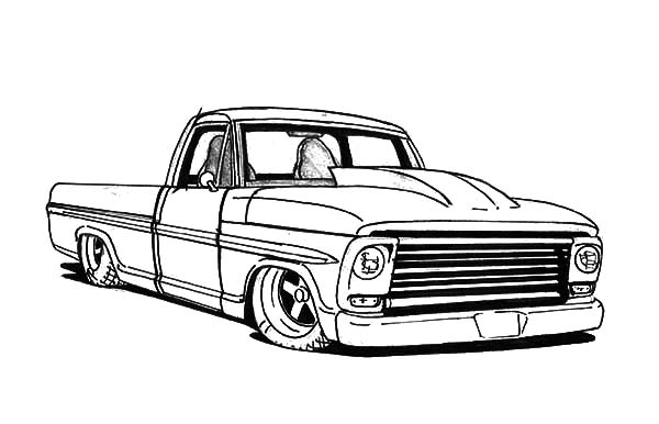 Lowrider truck coloring pages