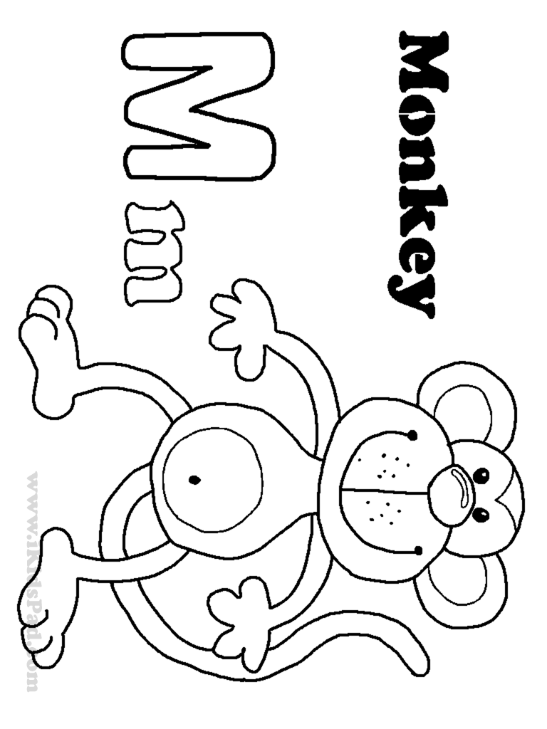 M coloring pages for preschool