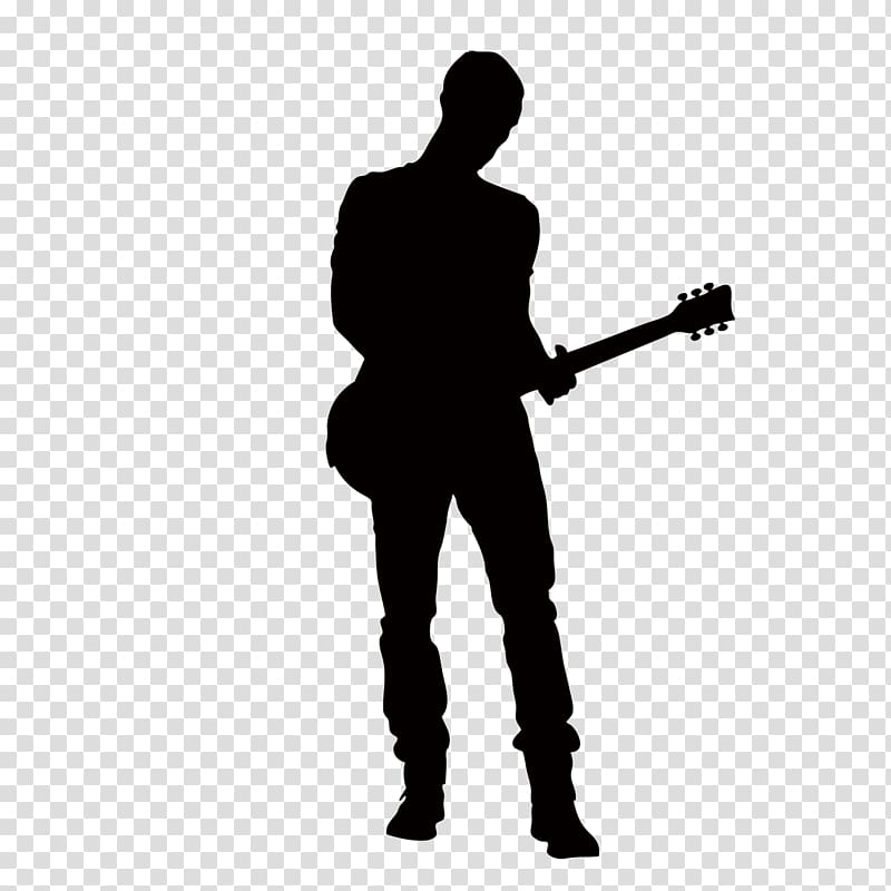 Man with guitar silhouette