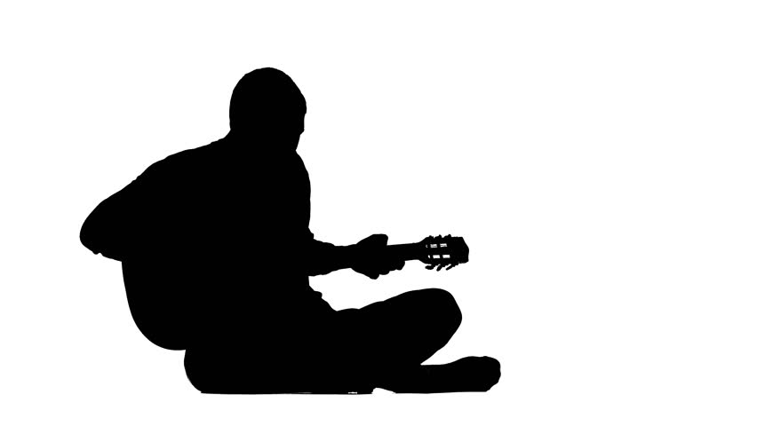 man with guitar silhouette silhouette of sitting man playing the guitar on white guitar man silhouette with