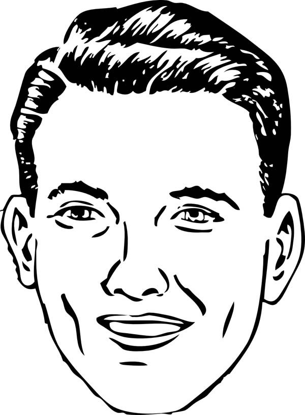 Man's face coloring page