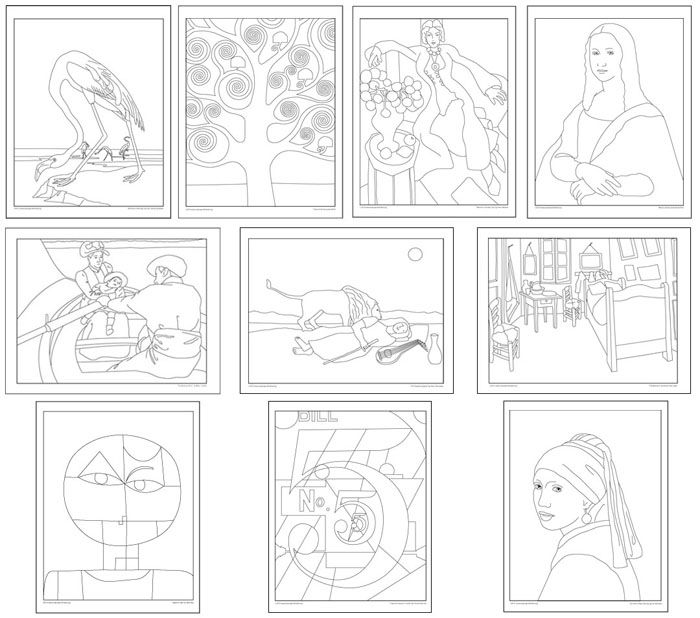 masterpiece coloring pages icolor quotmasterpiecesquot coloring books famous art masterpiece pages coloring