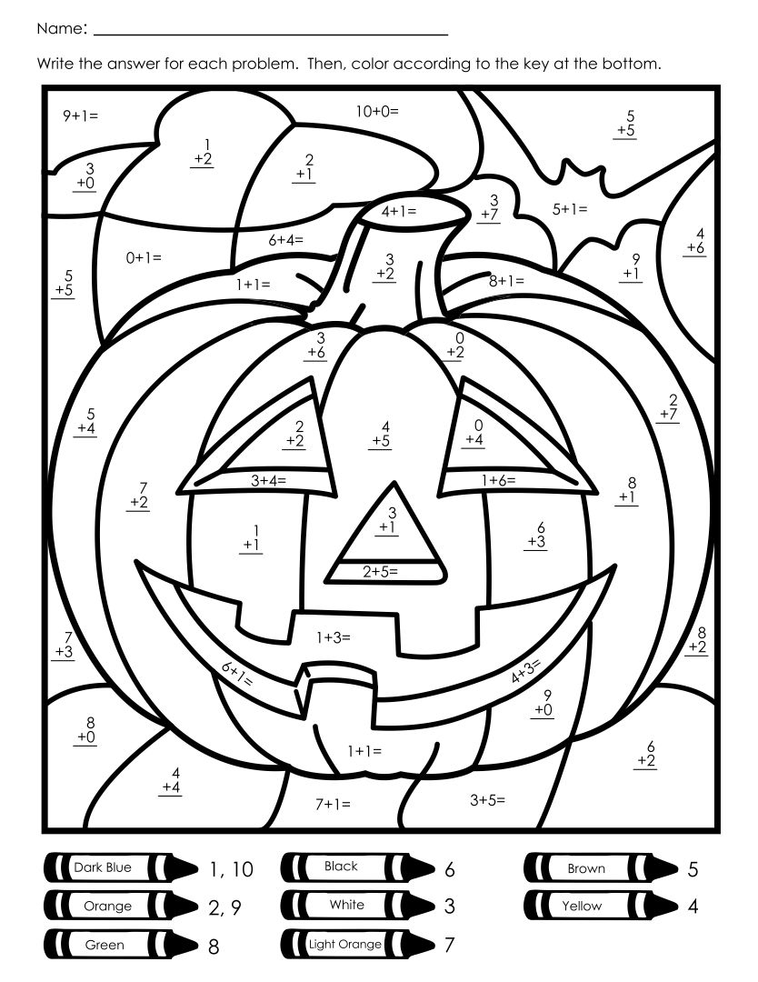 math number coloring pages 8 best images of halloween addition color by number pages math coloring number