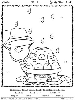 math number coloring pages color by number spring addition math puzzles quotsum coloring number math pages