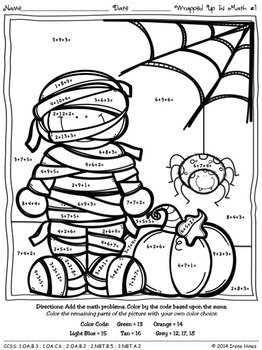 math number coloring pages color by the number code wrapped up in math halloween pages coloring math number