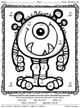 math number coloring pages math monsters addition subtraction with regrouping coloring math number pages
