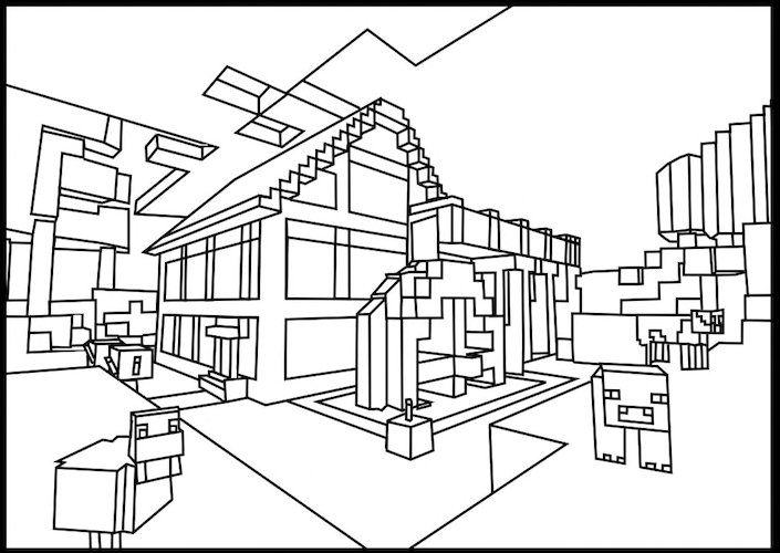 Minecraft mansion coloring pages