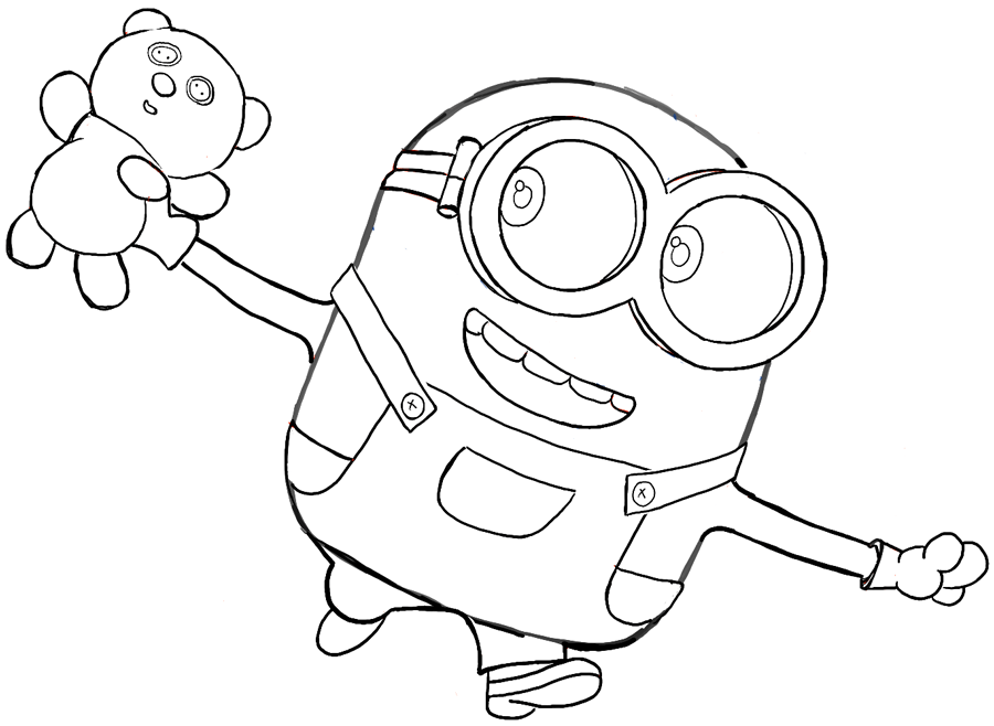 minions drawing how to draw bob the minion with a teddy bear from the drawing minions