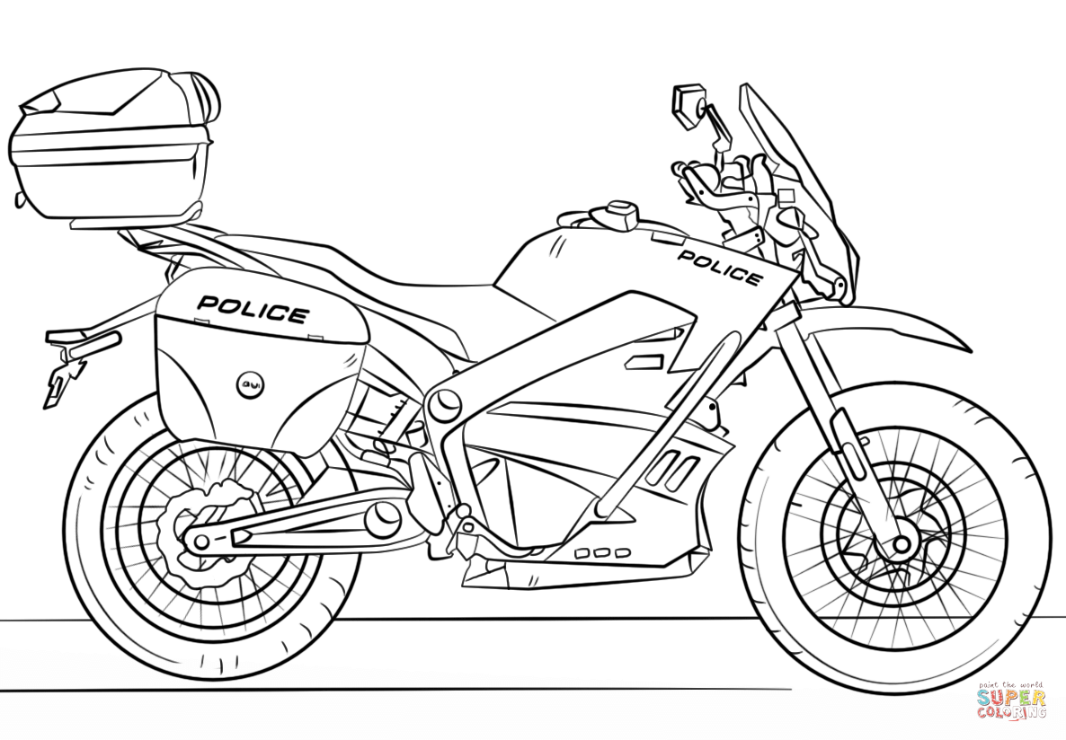 motorbike pitchers police motorcycle coloring page free printable coloring motorbike pitchers