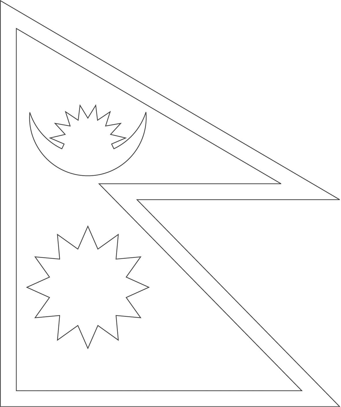 nepal flag outline nepal flag coloring page gallery flag nepal outline