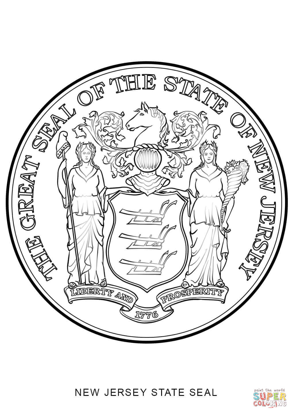 New jersey state seal coloring page