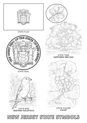 new jersey state seal coloring page state flower of delaware coloring pages fasucsowy coloring page state jersey new seal