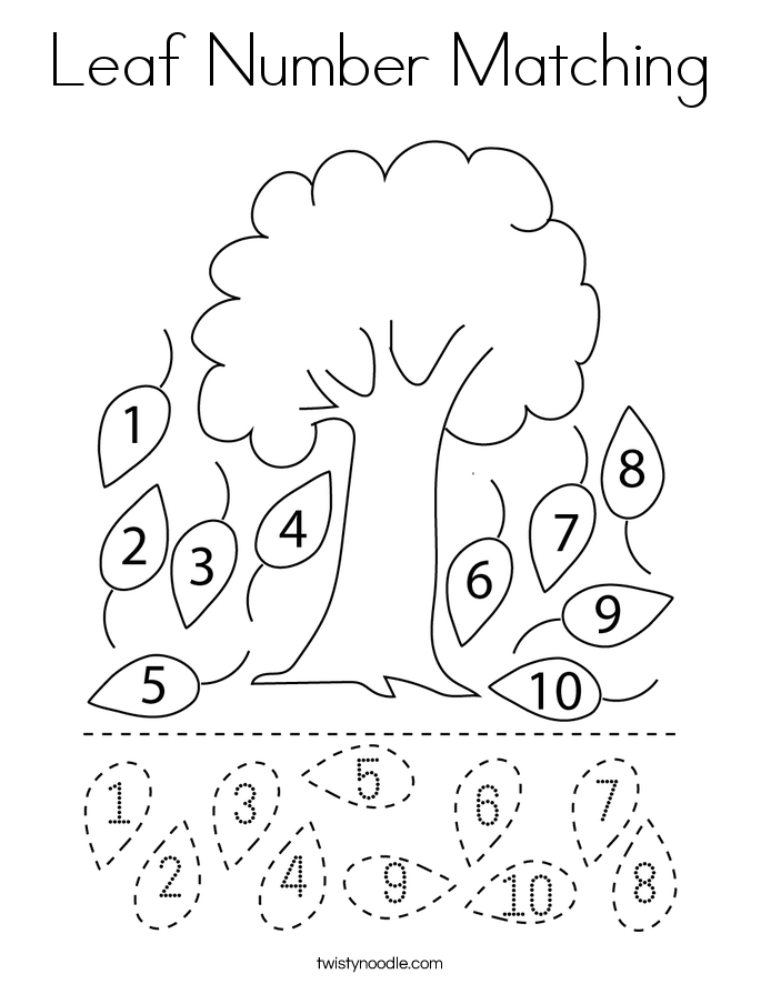 Number matching coloring pages