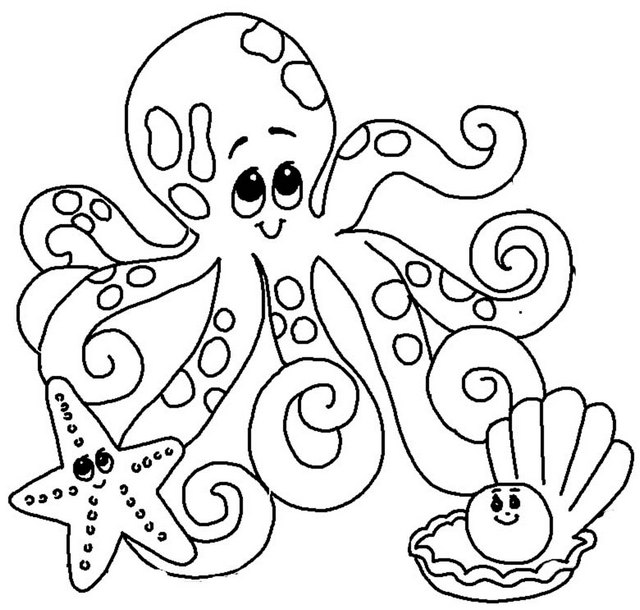 octopus coloring page cute octopus starfish pearl shell coloring page coloring octopus page