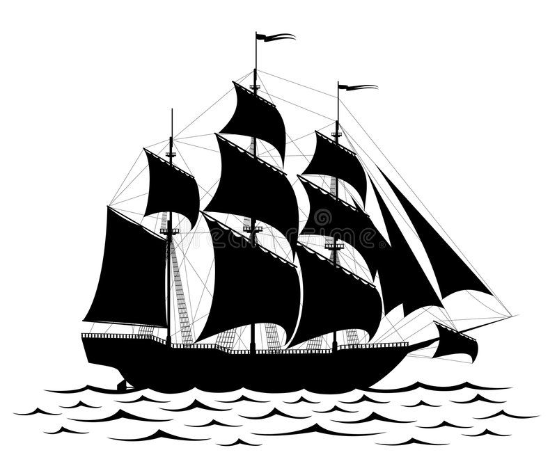 old ship silhouette old sailing ship silhouette on water eps vectors search old ship silhouette