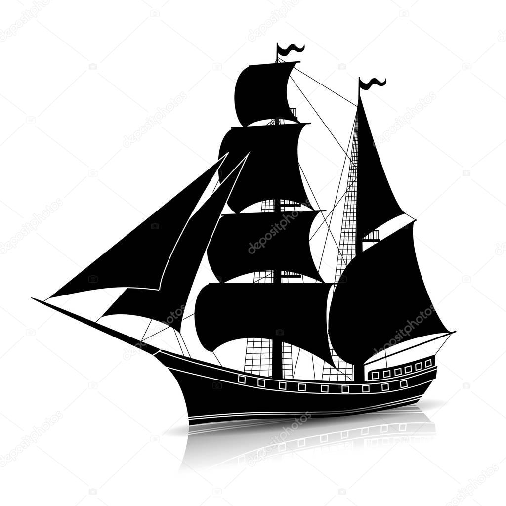 old ship silhouette old ship royalty free vector image vectorstock old ship silhouette