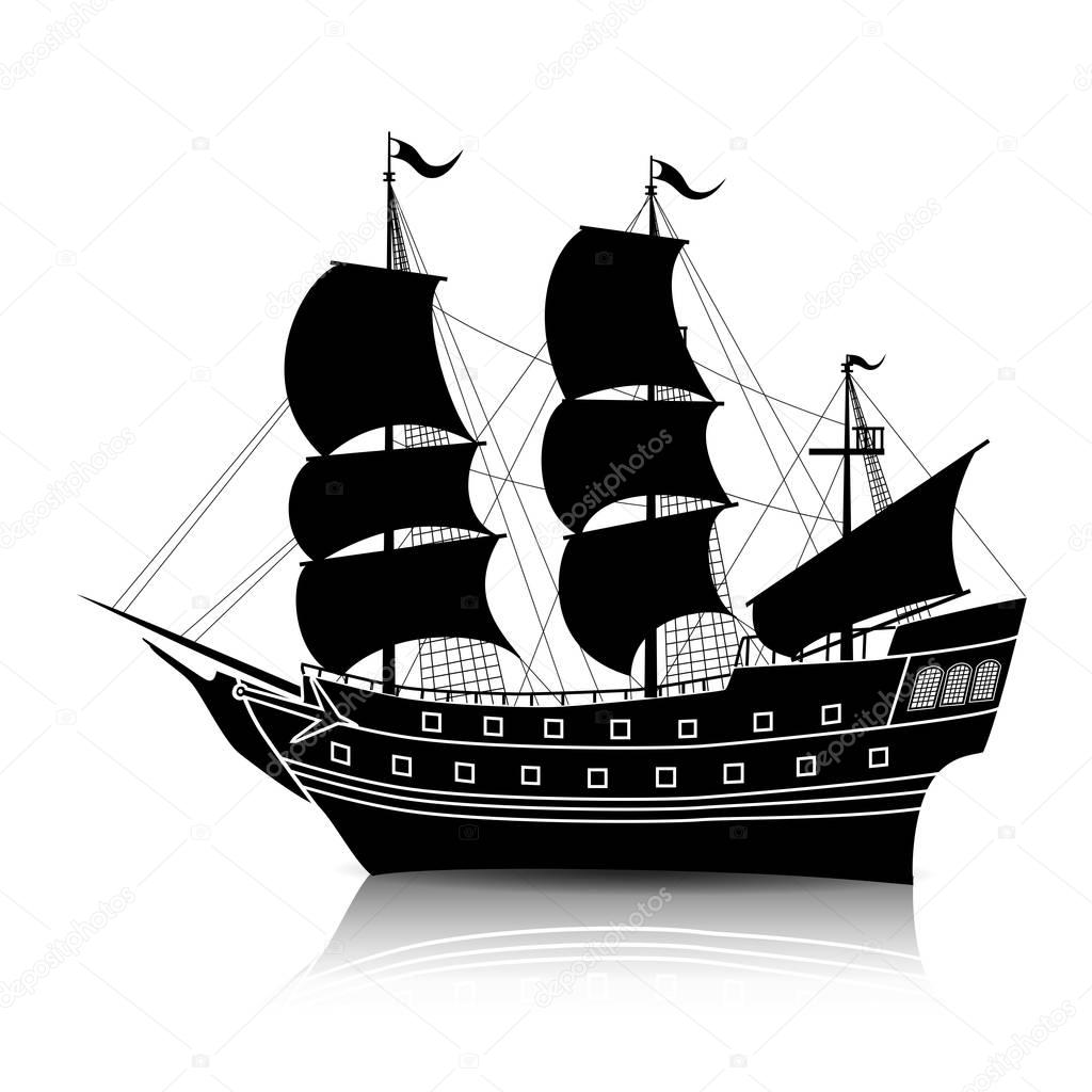 old ship silhouette silhouette vintage sailing ship with reflection stock ship silhouette old