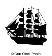 old ship silhouette silhouette vintage sailing ship with reflection stock ship silhouette old 1 1