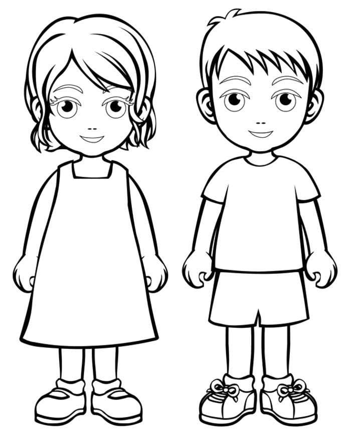 Outline of a boy and girl coloring pages