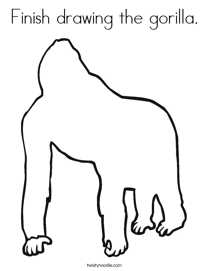 outline of a gorilla gorilla zoe card gorilla outline zazzle a gorilla outline of