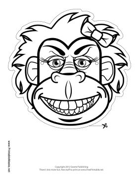 outline of a gorilla printable gorilla with bow mask to color mask of outline a gorilla