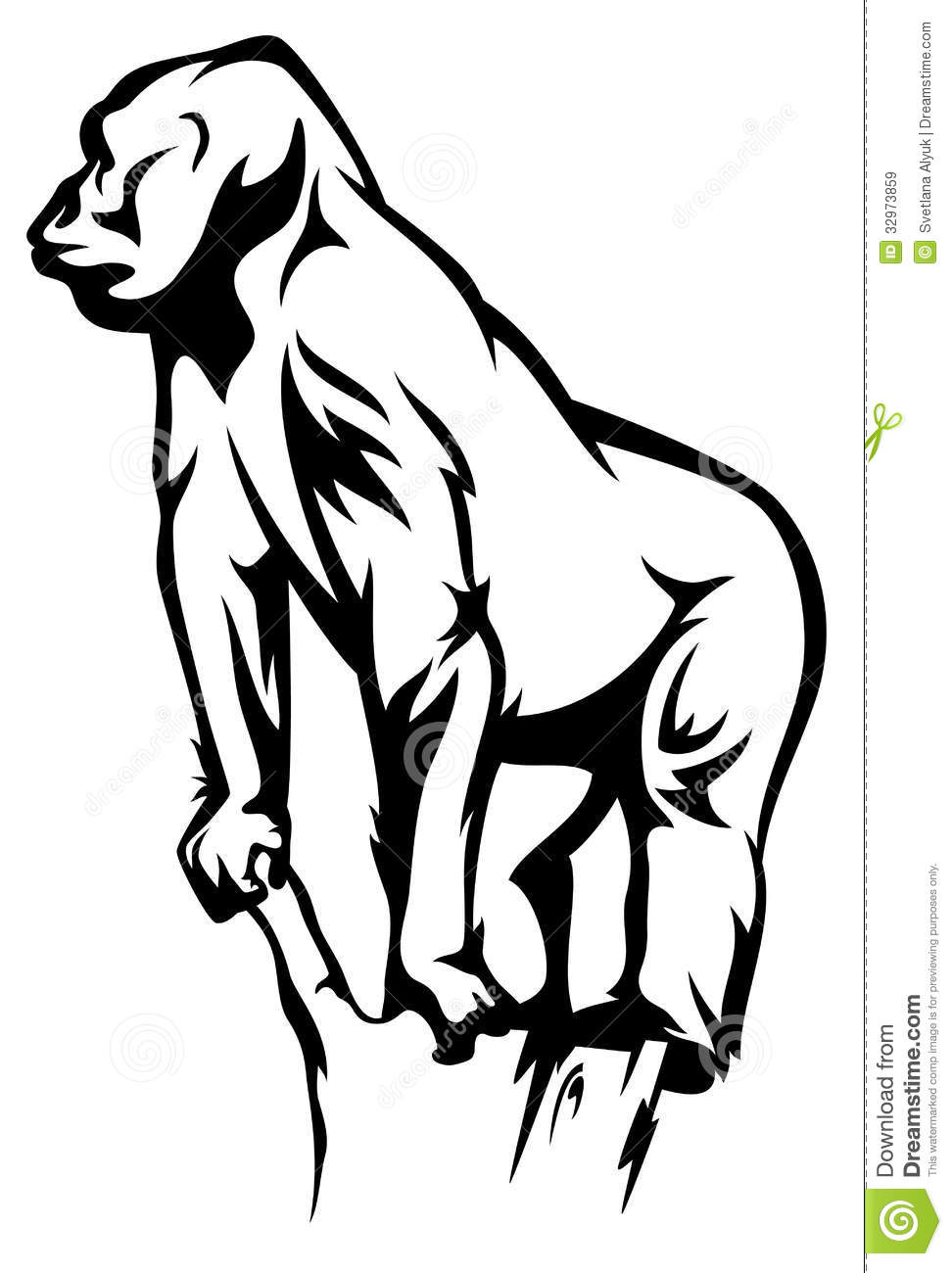 outline of a gorilla standing gorilla vector royalty free stock images image gorilla outline a of