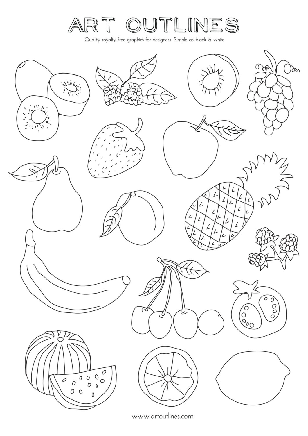 outline of fruits pictures fruits outline picture clipart best fruits pictures of outline