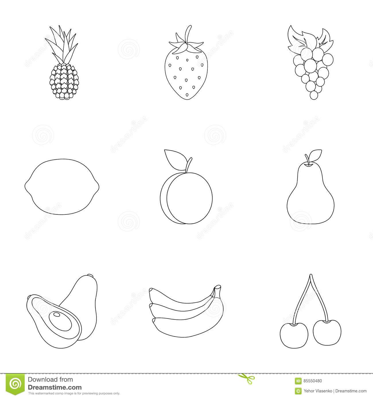 outline of fruits pictures set of vegetables and fruits black outline design vector outline of pictures fruits