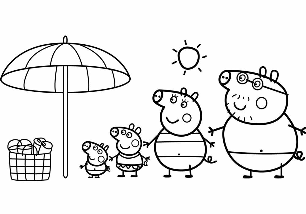 peppa pig colo peppa pig beach coloring page coloring pages colo peppa pig