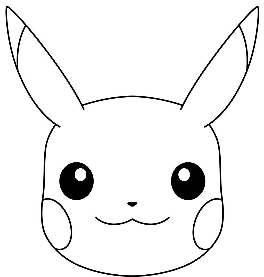 Pikachu face coloring page