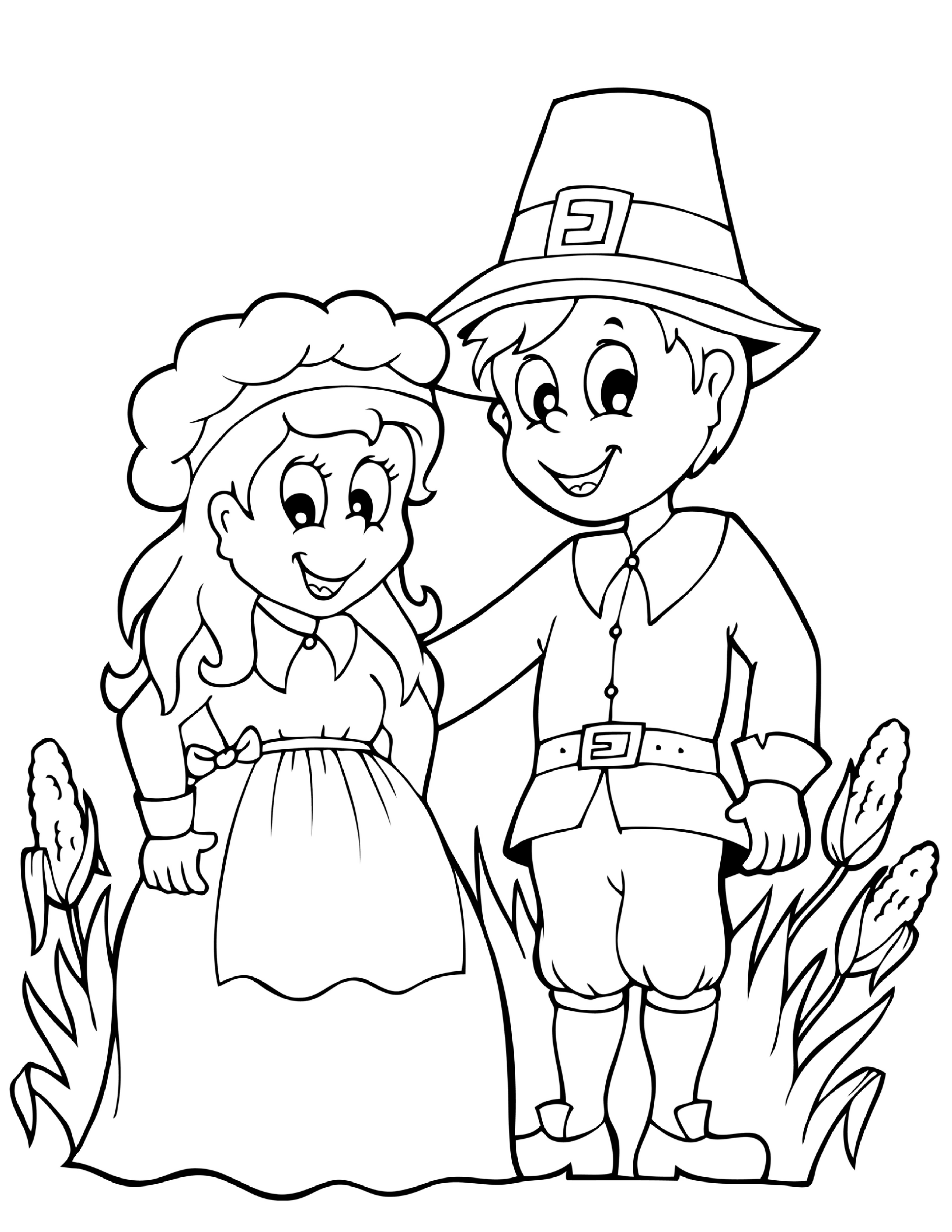 pilgrim boy and girl coloring pages pilgrim boy and girl carrying pumpkin and corns coloring coloring girl and boy pilgrim pages