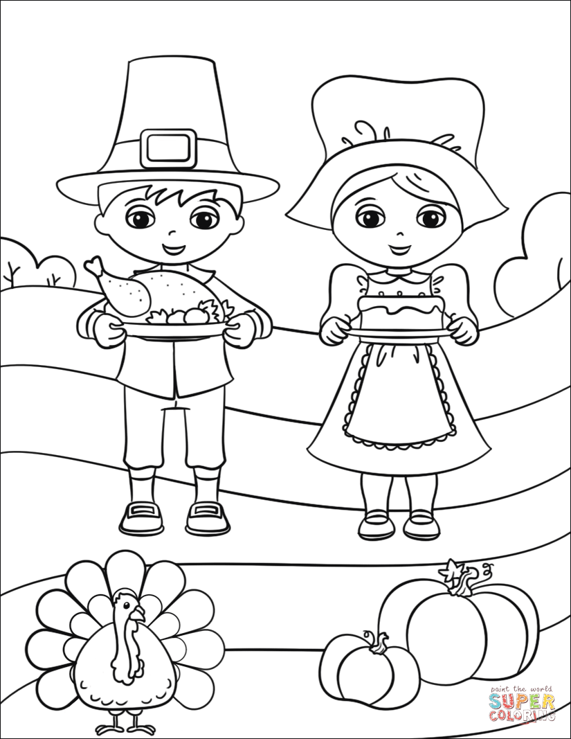 Pilgrim boy and girl coloring pages