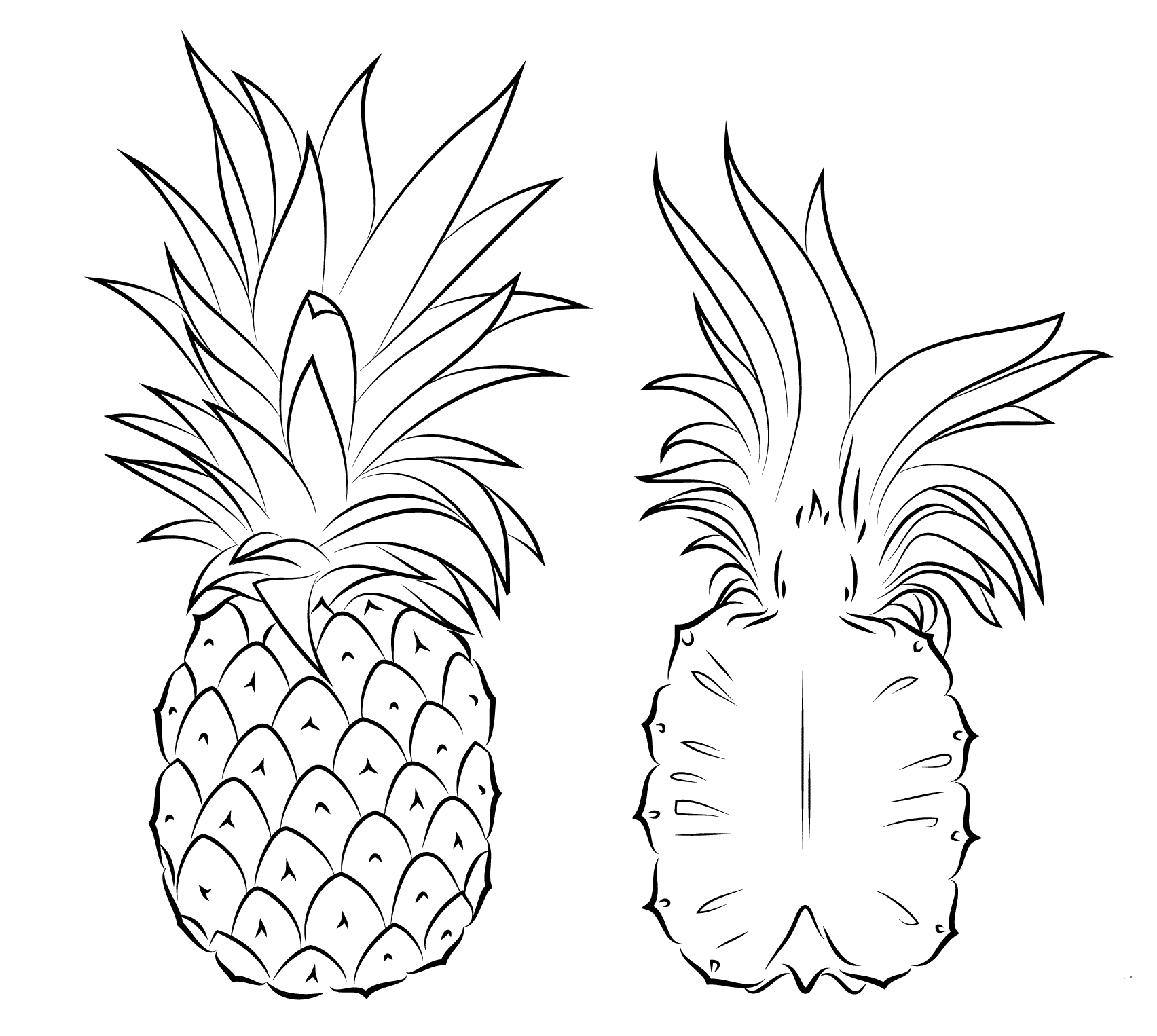 pineapple colouring picture superb delicious juicy pineapple colouring pages picolour pineapple picture colouring