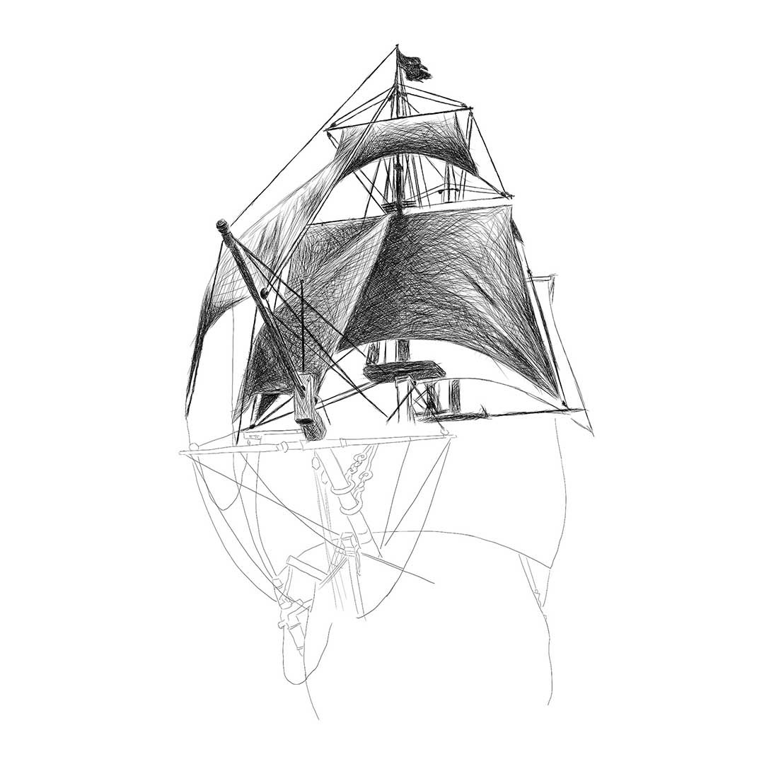 pirate boat drawing ship line drawing at paintingvalleycom explore boat pirate drawing