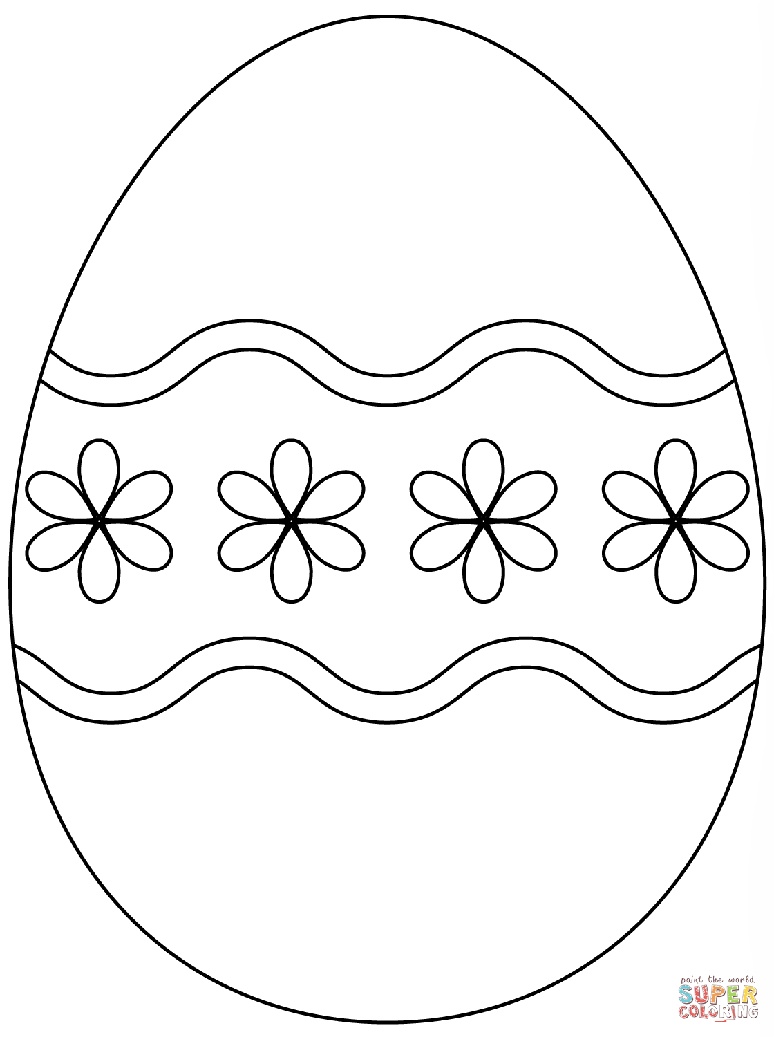 plain easter egg coloring pages easter egg with simple flower pattern coloring page free egg easter pages plain coloring
