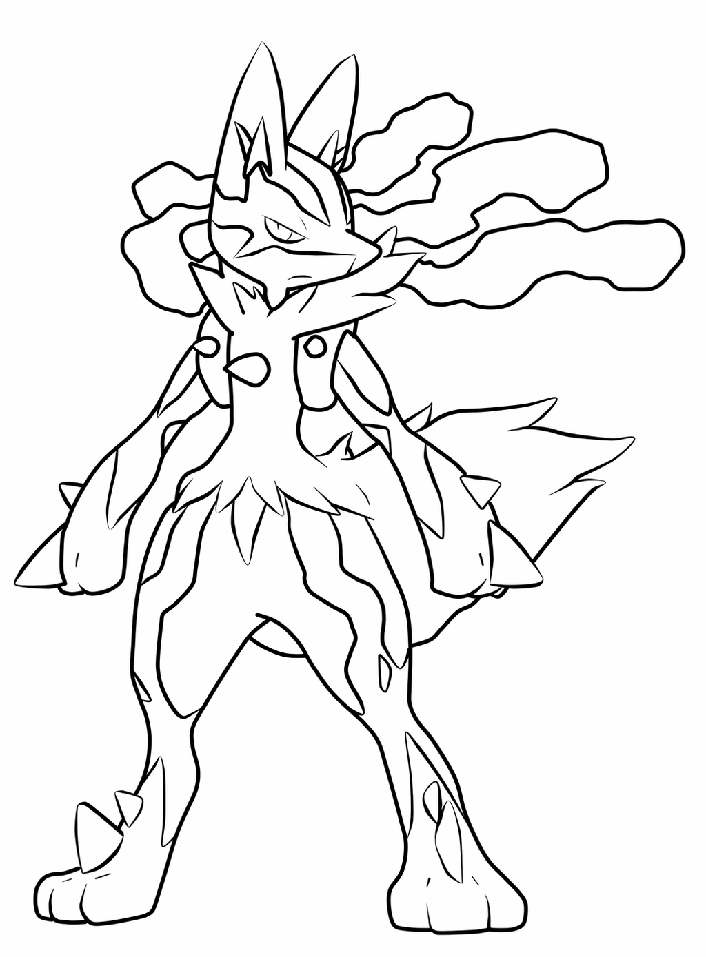 pokemon lucario coloring pages angry mega lucario coloring page free printable coloring coloring lucario pokemon pages