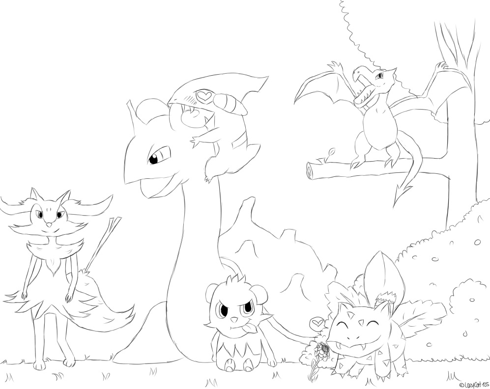 pokemon outline pictures pokemon x my team outlines by lazycat125 on deviantart pictures pokemon outline