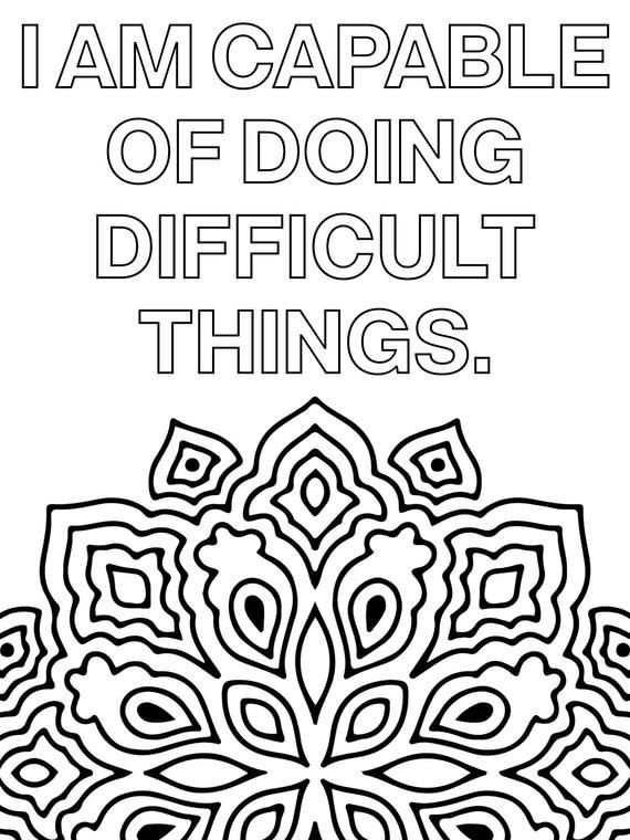 Positive quote mandala coloring pages