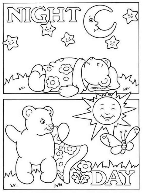 Preschool opposites coloring pages
