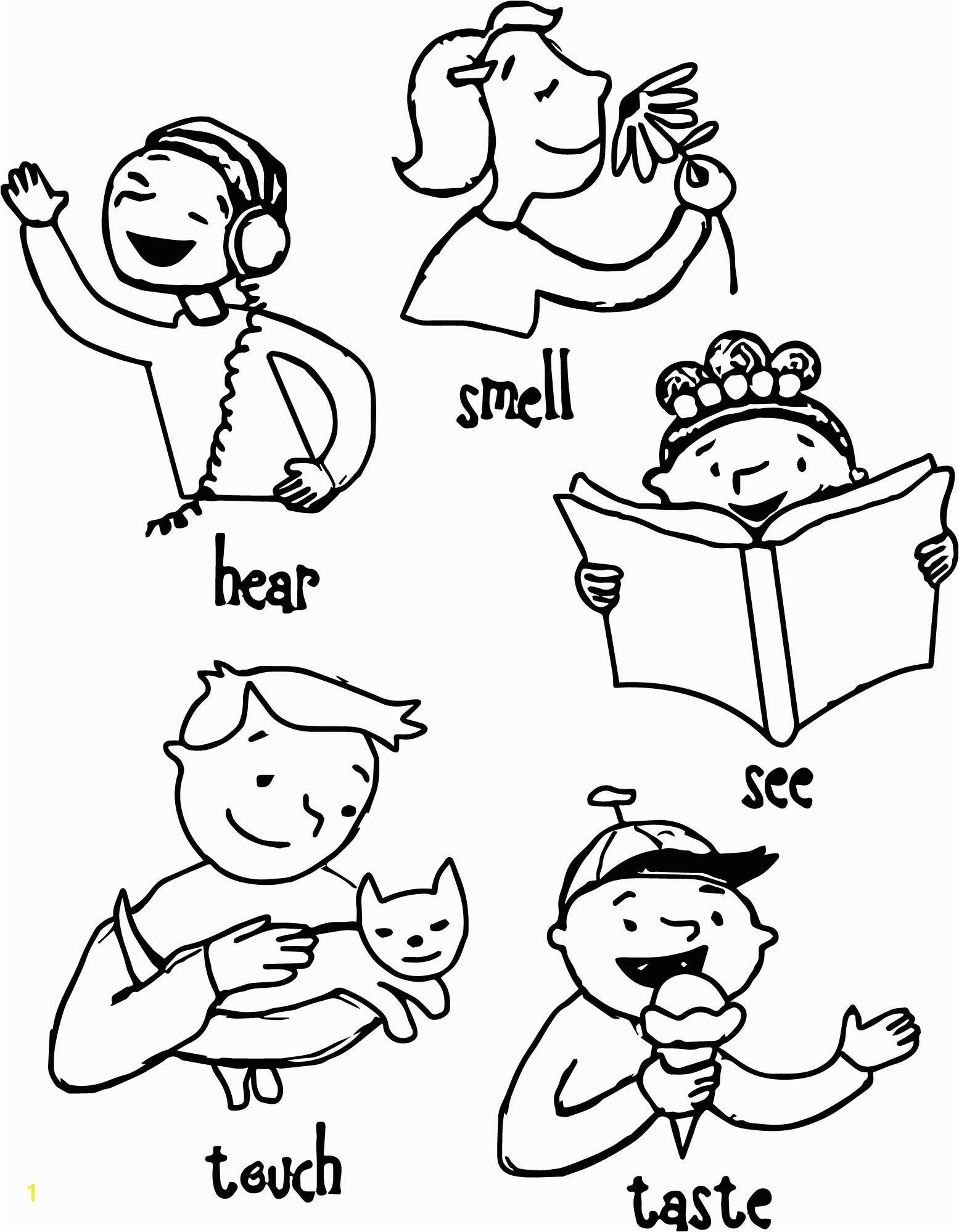 Printable 5 senses coloring pages