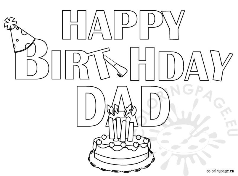 printable coloring birthday cards for dad happy birthday dad coloring page for kids holiday coloring birthday printable for dad cards